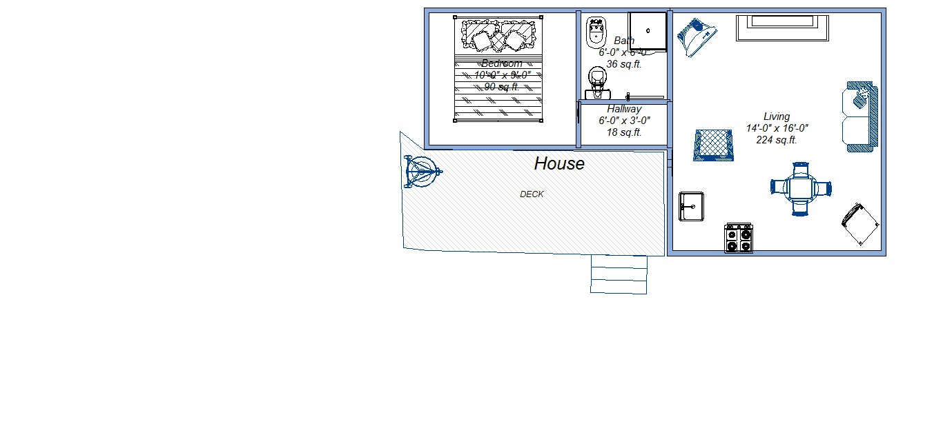Floor Plan for Knotty pine cabin walking distance to River, lake and activities.
